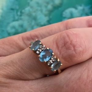 14KT Yellow Gold Blue Stone and Diamond Ring